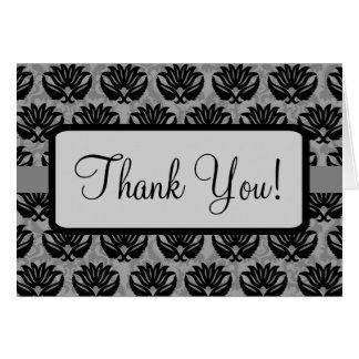 Black Grey Art Nouveau Damask Thank You Card
