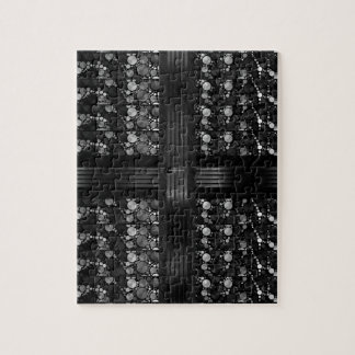 Black Grey Bling Abstract Jigsaw Puzzle