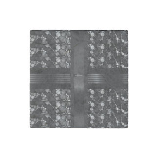 Black Grey Bling Abstract Stone Magnet
