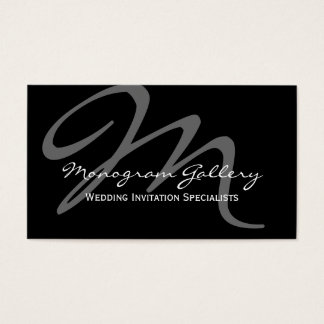 Black Grey Bold Script Monogram Wedding Business Card