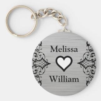 Black Grey Bride Groom Names Floral Wedding Basic Round Button Keychain