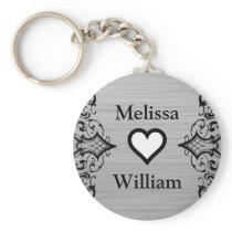 Black Grey Bride Groom Names Floral Wedding Keychain