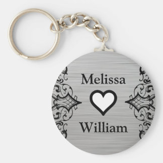 Black Grey Bride Groom Names Floral Wedding Keychain