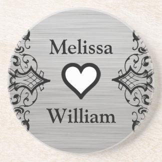 Black Grey Bride Groom Names Floral Wedding Sandstone Coaster