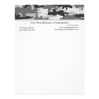 Black Grey Camouflage Custom Stationery Letterhead