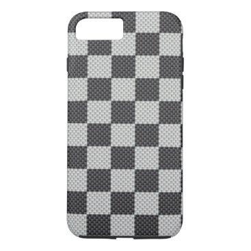 Christmas Themed Black & Grey Carbon Fiber Checker Board iPhone 7 Plus Case