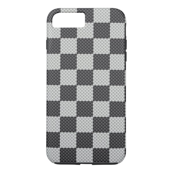 Black & Grey Carbon Fiber Checker Board iPhone 7 Plus Case