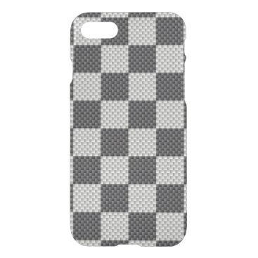 McTiffany Tiffany Aqua Black & Grey Carbon Fiber Checker Board iPhone 8/7 Case