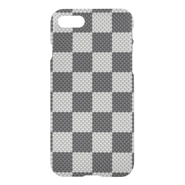 Black & Grey Carbon Fiber Checker Board iPhone 8/7 Case
