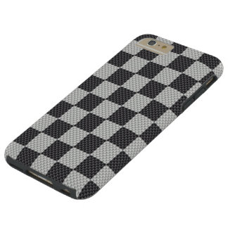 Black & Grey Carbon Fiber Checker Board Tough iPhone 6 Plus Case