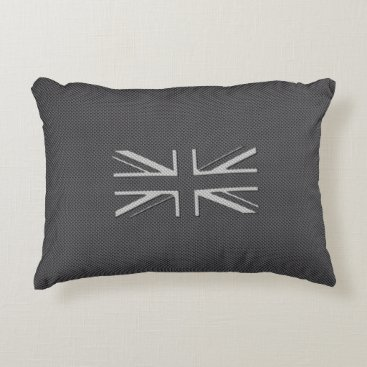 Beach Themed Black & Grey Carbon Fiber UK Flag Union Jack Accent Pillow