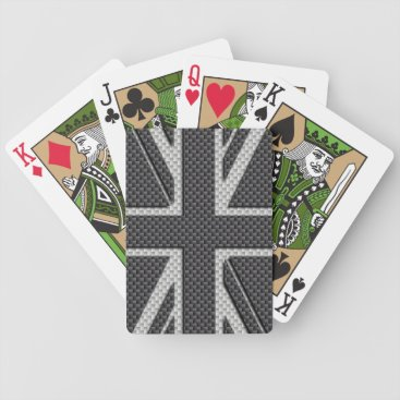 Beach Themed Black & Grey Carbon Fiber UK Flag Union Jack Bicycle Playing Cards