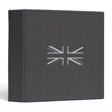 Beach Themed Black & Grey Carbon Fiber UK Flag Union Jack Binder