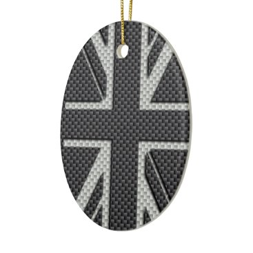 Beach Themed Black & Grey Carbon Fiber UK Flag Union Jack Ceramic Ornament