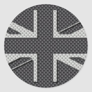 Beach Themed Black & Grey Carbon Fiber UK Flag Union Jack Classic Round Sticker