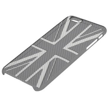 Beach Themed Black & Grey Carbon Fiber UK Flag Union Jack Clear iPhone 6 Plus Case