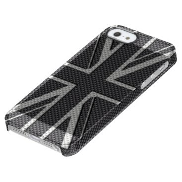 Beach Themed Black & Grey Carbon Fiber UK Flag Union Jack Clear iPhone SE/5/5s Case