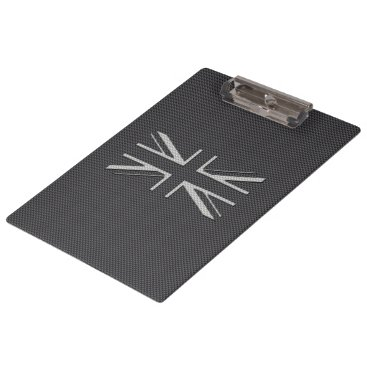 Beach Themed Black & Grey Carbon Fiber UK Flag Union Jack Clipboard