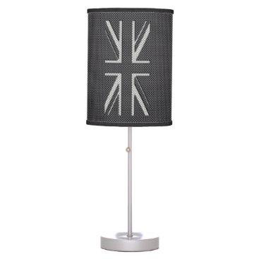 Beach Themed Black & Grey Carbon Fiber UK Flag Union Jack Desk Lamp
