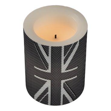 Beach Themed Black & Grey Carbon Fiber UK Flag Union Jack Flameless Candle
