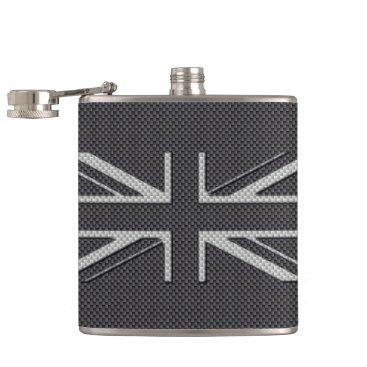 Beach Themed Black & Grey Carbon Fiber UK Flag Union Jack Hip Flask