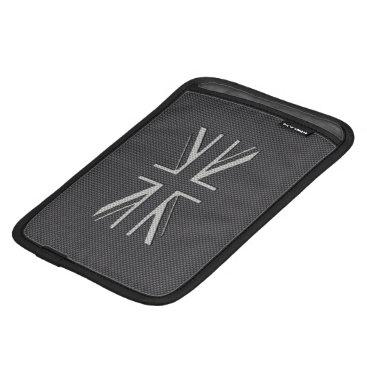 Beach Themed Black & Grey Carbon Fiber UK Flag Union Jack iPad Mini Sleeve