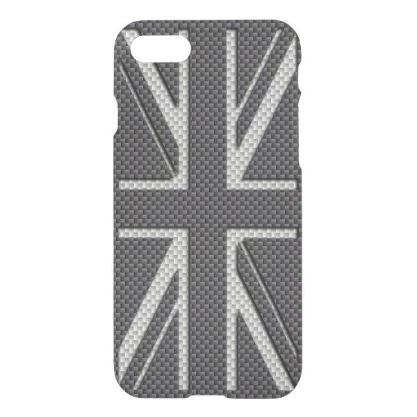 Black & Grey Carbon Fiber UK Flag Union Jack iPhone 7 Case