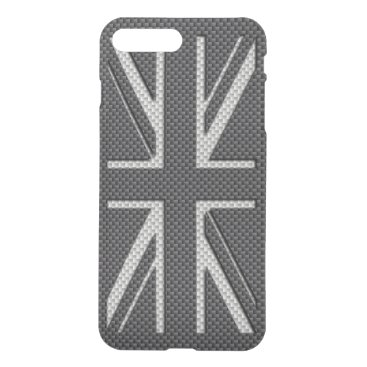 Beach Themed Black & Grey Carbon Fiber UK Flag Union Jack iPhone 7 Plus Case
