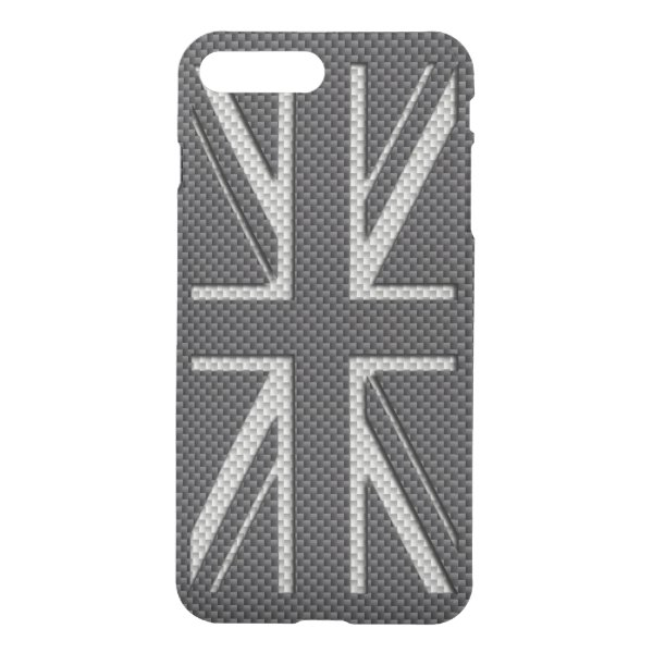 Black & Grey Carbon Fiber UK Flag Union Jack iPhone 7 Plus Case