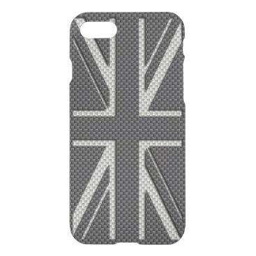 McTiffany Tiffany Aqua Black & Grey Carbon Fiber UK Flag Union Jack iPhone 8/7 Case