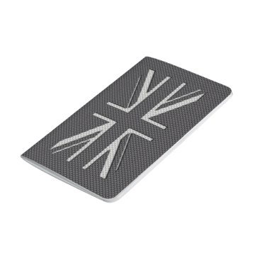 Beach Themed Black & Grey Carbon Fiber UK Flag Union Jack Journal