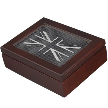 Beach Themed Black & Grey Carbon Fiber UK Flag Union Jack Keepsake Box