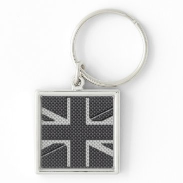Beach Themed Black & Grey Carbon Fiber UK Flag Union Jack Keychain