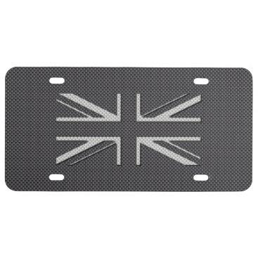 Beach Themed Black & Grey Carbon Fiber UK Flag Union Jack License Plate