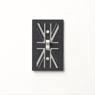 Beach Themed Black & Grey Carbon Fiber UK Flag Union Jack Light Switch Cover