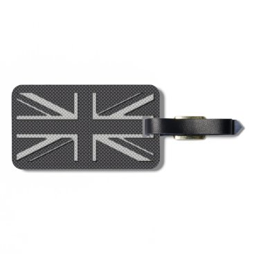 Beach Themed Black & Grey Carbon Fiber UK Flag Union Jack Luggage Tag