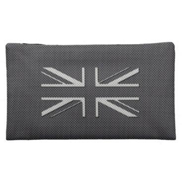 Beach Themed Black & Grey Carbon Fiber UK Flag Union Jack Makeup Bag