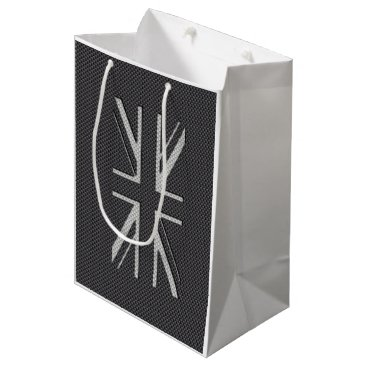 Beach Themed Black & Grey Carbon Fiber UK Flag Union Jack Medium Gift Bag