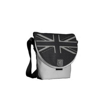 Beach Themed Black & Grey Carbon Fiber UK Flag Union Jack Messenger Bag