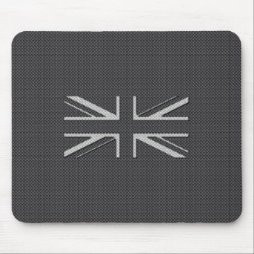 Beach Themed Black & Grey Carbon Fiber UK Flag Union Jack Mouse Pad
