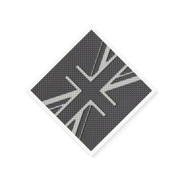 Beach Themed Black & Grey Carbon Fiber UK Flag Union Jack Napkin