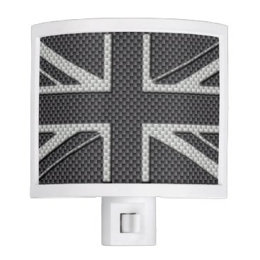 Beach Themed Black & Grey Carbon Fiber UK Flag Union Jack Night Light