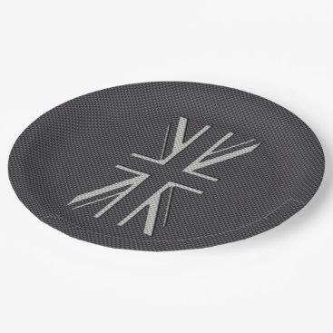 Beach Themed Black & Grey Carbon Fiber UK Flag Union Jack Paper Plate