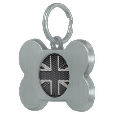 Beach Themed Black & Grey Carbon Fiber UK Flag Union Jack Pet ID Tag