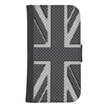 Beach Themed Black & Grey Carbon Fiber UK Flag Union Jack Phone Wallet