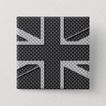 Disney Themed Black & Grey Carbon Fiber UK Flag Union Jack Pinback Button