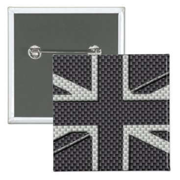 Beach Themed Black & Grey Carbon Fiber UK Flag Union Jack Pinback Button