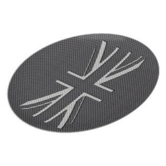 Black & Grey Carbon Fiber UK Flag Union Jack Plate
