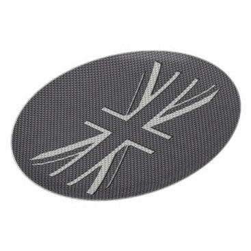 Beach Themed Black & Grey Carbon Fiber UK Flag Union Jack Plate