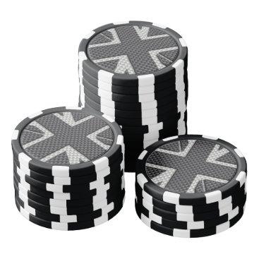 Beach Themed Black & Grey Carbon Fiber UK Flag Union Jack Poker Chips Set